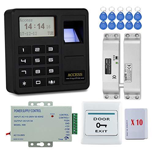 YAVIS Tür Eintrag Access Control System Kit Set Biometrische Fingerabdruck-Controller-Tastatur Codeschloss Türöffner 125 kHz + Electric Drop Bolt Lock + Netzteil + Exit-Taste + 20 Stück ID-Karten -
