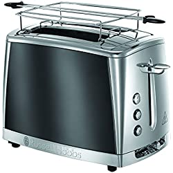 Russell Hobbs 23221-56 Toaster Grille-Pain Luna, Cuisson Rapide, Contrôle Brunissage, Chauffe Viennoiserie - Gris