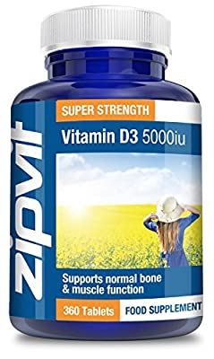 Vitamin D3 5000iu, Pack of 360 Tablets, by Zipvit Vitamins Minerals & Supplements from Zipvit