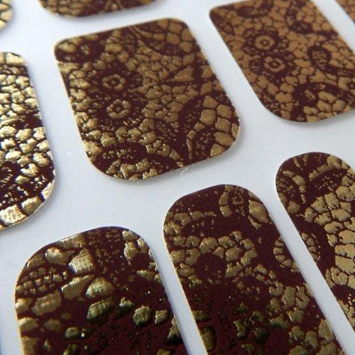 Chix Nails Designer Minx - Adhesivos de vinilo para uñas, color marrón chocolate con encaje dorado