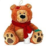 matches21 Süßer Weihnachtsteddy Winter Teddy Weihnachten Teddybär mit rotem Schal 25 cm braun Kuscheltier Geschenkidee Freundin Partner Valentinstag