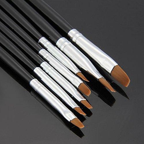 SODIAL(R) 7x Acryl UV Gel Nagel Pinsel Set Gelpinsel B¨¹rste Nail Art Design Pen Schwarz - 5
