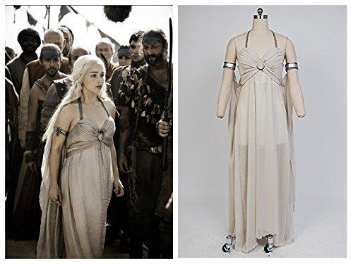 Sunkee Game of Thrones Mutter der Drachen Daenerys Targaryen Halloween Cosplay Kleid, Maßgeschneiderte (Bitte geben Sie Ihr Gewicht, Höhe, Breite, Taille, Brust und Hüfte) (M: 160-165cm, Daenerys (Kostüm Daenerys Drachen Targaryen)