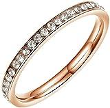 Gnzoe Schmuck, Edelstahl Hochzeit Ringe Fingerring Eine Reihe mit Zirkonia Rose Gold Breit 2MM Gr.49(15.6) Für Paare