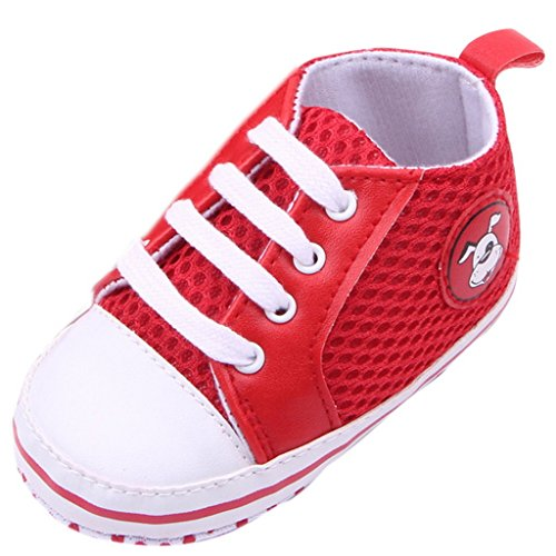 EOZY Baby Mädchen Lauflernschuhe Jungen Sneaker Hundemuster Segeltuchschuhe Rot