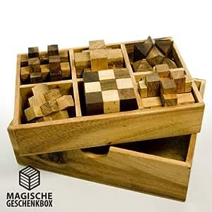 IQ MASTER – 6er Knobelspiele Set in edler Holz Schachtel – Standard – Sechs Geschicklichkeitsspiele als Geschenk-Idee für Männer Frauen Kinder – 6-teiliges Holzspielzeug Set für Rätselfans