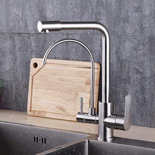 Kann hinstellen Küchenarmatur Wasserhahn Waschbecken Heiß und Kalt Mixer Trinkwasser Mixer Edelstahl 3 Way Dual Holder Single Hole -