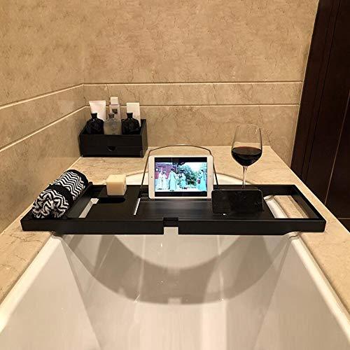 YQ QY Badewanne Caddie Tablett Bambusholz Badewannenständer Badezimmer Tablett Bimsstein IPad iPhone Steckplatz Platzieren Rotweinglas Fester Schlitz (Color : Black)