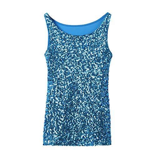 Scrolor Tank Tops Bluse T-Shirts für Mädchen Damenmode Wilde Pailletten Skintight Camisole Nachtclub Ktv Stage Performance(Himmelblau,Free) - Pailletten Seide Top