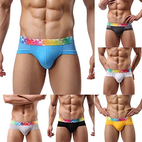 SEVENWELL Männer Modal Mesh Hosen Elastische Sexy Slip Unterwäsche Gray2 + weiß
