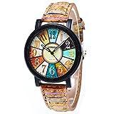 Unisexe Bracelet En Cuir Analogique Quartz Vogue Montres (4 x 4 cm, Multicolore)