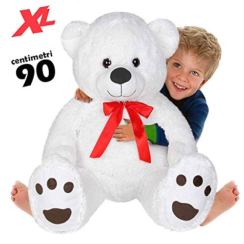 BAKAJI Peluche Orso Gigante XL Altezza 90 cm Morbidissimo Pupazzo Bambini Ragazzi Orsacchiotto Extra Large Morbido Idea Regalo (Bianco)
