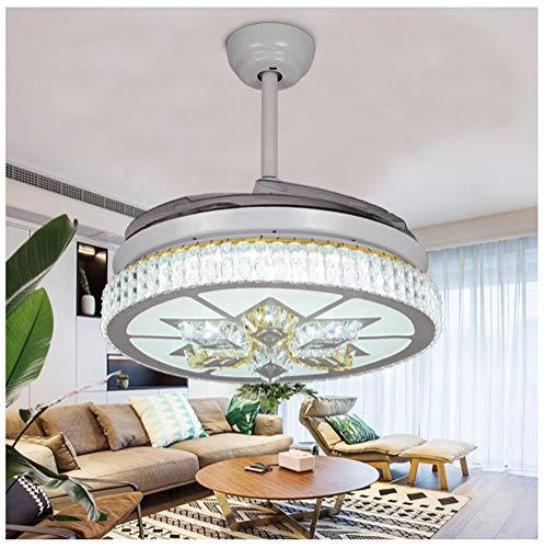 Shirley's home ventilatori a soffitto da 42 pollici con ventilatore a soffitto a led retrattile leggero 4 pale ventilatore a candeliere di cristallo moderno bianco con telecomando lampadari, lampade a