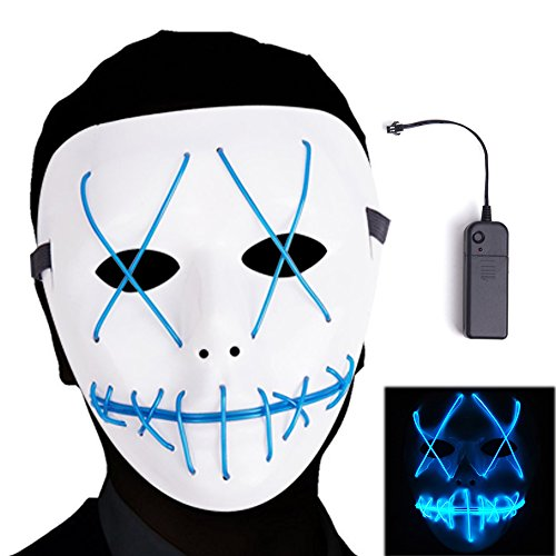 Anseedirect the purge mask led glowing mask cosplay mask per halloween festival costume party