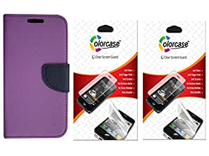 Colorcase Wallet Flip Cover Case for Infocus M2 with 2 Screenguards