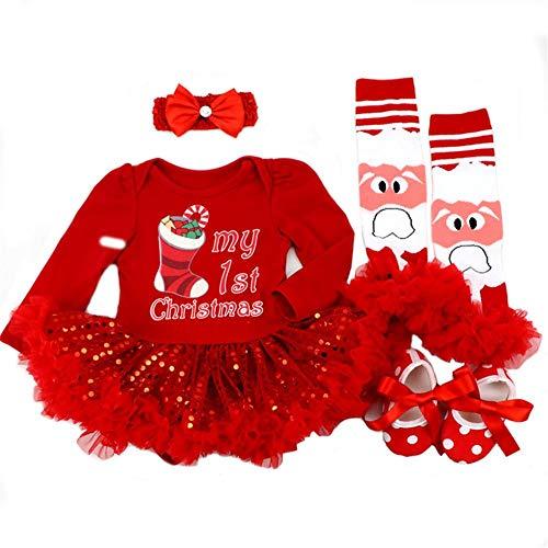 DecStore Baby Girls Mein erster Weihnachtskostüm Party Kleid Tutu Kleidung 4PCS Set(Rote Weihnachtssocke M)