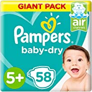 Pampers Baby-Dry Diapers, Size 5+, Junior+, 58 Count