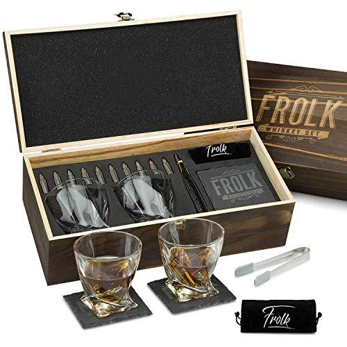 Premium Whiskey Stones Bullets Geschenkset für Herren - 10 Bullets Chilling Edelstahl Whiskey Rocks - 312 ml 2 große gedrehte Whiskey Gläser, Schieferuntersetzer, Zange - Luxus Set in Echtholz Box (Whisky-kugeln Aus Stahl)