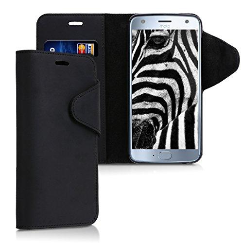 kalibri-Hlle-fr-Motorola-Moto-X4-Echtleder-Wallet-Case-Schutzhlle-mit-Fach-und-Stnder-in-Schwarz