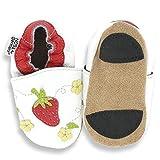 HOBEA-Germany Lauflernschuhe Erdbeere - Pantuflas para bebés, Color weiß, Talla 22/23 (18-24 Mon.)