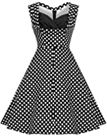 Zarlena Damen Rockabilly Kleid Polka Dots Punkte 50'er Cocktailkleid Abendkleid