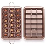 EKKONG Brownie Tin, Brownie Tray with Dividers Non-Stick Brownie Pan Square Cake Mould Brownie Maker Kitchen Ovenware Cookware Bakeware (Brown)