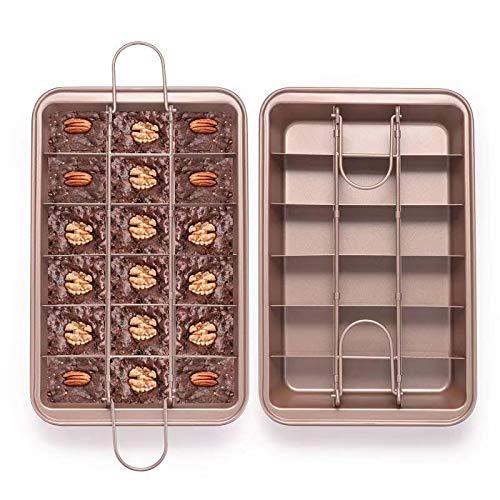 EKKONG Brownie Backform, kuchenform Brownie mit Trennwänden und Hebeboden eckiges Kuchenblech antihaftbeschichtete haltbarer Kohlenstoffstahl (31 * 20 * 4.9cm)
