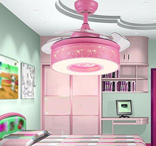 Fgsgz stanza dei bambini ventilatore lampadario camera da letto dallo stile semplice creativo invisibile a tre colori di luce telecomando rosa 36 pollice