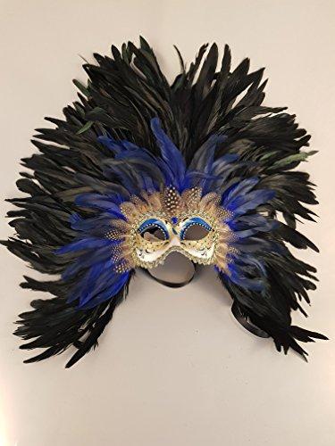 Venezianische Maske Colombina Piuma Maxi (blu)