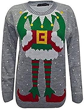 CLASSY TRENDZ-Las mujeres tejidas Santa ELF Novedad Navidad Xmas Jumper Suéter
