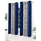 Story@Home Modern Polyester Geometric Pattern Eyelet 2 Piece Printed Ringtop Window Curtain Set for Drawing Room, Bedroom and Hall - 5 Ft, Blue