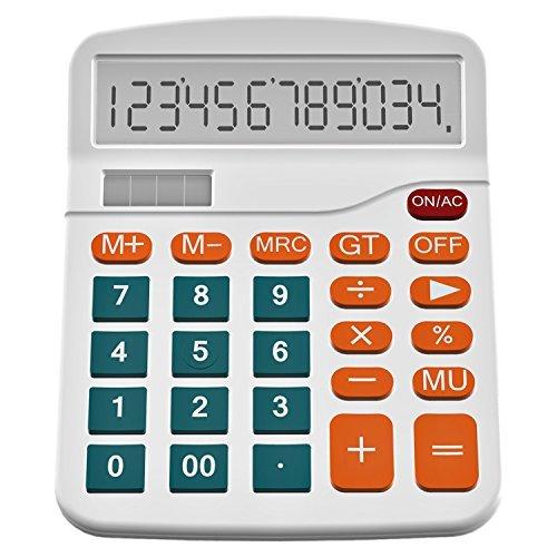 Helect Taschenrechner Standard Tischrechner 12-stelliger Dual-Power (Solar und Batterie) (Weiß)