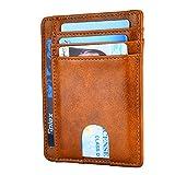 Ovecat Porte-Cartes en Cuir avec Blocage RFID Porte-Cartes Simple pour Hommes (Huile R Brown)...