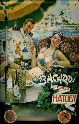 affiche-metallique-avec-inscription-bacardi-rhum-cerveza-hatuey-parasol-caraibes
