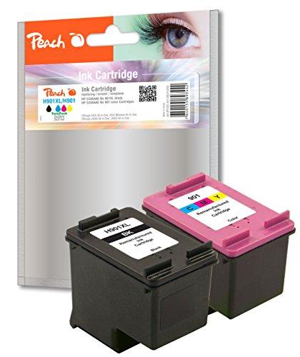 Preisvergleich Produktbild Peach Spar Pack Druckköpfe kompatibel zu HP No. 901XL black, CC654AE,  No. 901 color, CC656AE