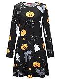 SIMYJOY Damen Halloween Langarm Kittel Flared Skater Kleid Swing Kleid für Party Cocktail Kostüm und Parade Schwarze Katze S