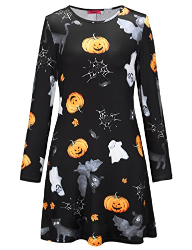 SIMYJOY Damen Halloween Langarm Kittel Flared Skater Kleid Swing Kleid für Party Cocktail Kostüm und Parade schwarze katze XXL (Link Katze Kostüm)