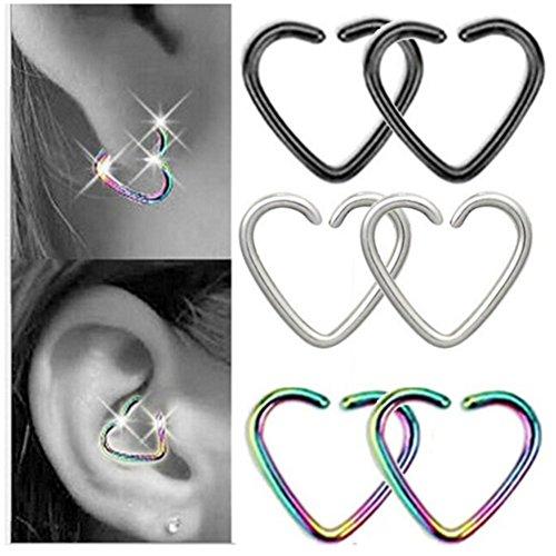 316l a forma di cuore, confezione da 6 pezzi, senza Daith cartilagine Orecchini a cerchio, Acciaio inossidabile, cod. PKPG150230