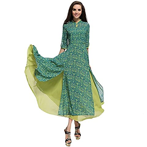 Years Calm - Robe - Taille empire - Manches 3/4 - Femme vert Green - vert - 38