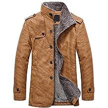 Beikoard Herrenmode warm mit Kapuze Leder warme Jacke Kapuzenjacke  Gefütterte Winterparka Herbst Winter warme Jacken Mäntel 5cd7c82f12
