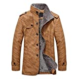Beikoard Männer Warme Kapuze Lederbekleidung Jacke Mantel Herbst Winter Casual Button Thermische Ledermäntel