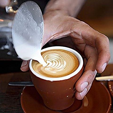 Lanlan Kaffee Milchaufschäumer und Latte Maker Edelstahl Milchdüse Dämpfen Krug Girlande Tasse 350ml für Espresso Maschine