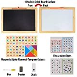 #5: Wooden Frame Double Sided Magnetic Whiteboard & Black Slate with Alphanumeric, Mathematical Signs and Tangram