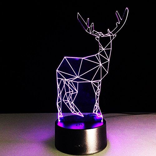 Schäfer Hund 3D Nacht Lampe Hologramm 3D Hirsche Decor Lampe Bunte Tisch Schreibtisch Lichter Geburtstag Geschenk Für Kinder Freunde Hirsche Berühren Sie
