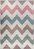 Carpetforyou Moderner abgetönter Kurzflor Teppich Waves Pastel Buntes Geometrisches Wellenmuster (140 x 200 cm)