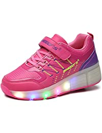 Zapatos del patín zapatos deportivos niños y niñas de calzado deportivo, zapatos de skate peón neutra con luces LED parpadeante ruedas de patines de rueda patín zapatos