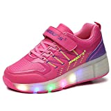 Zapatos del patín zapatos deportivos niños y niñas de calzado deportivo, zapatos de skate peón neutra con luces LED parpadeante ruedas de patines de rueda patín zapatos (28, Rosa)