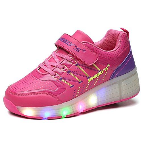 Skateboard Schuhe Turnschuhe Jungen und Mädchen Wanderschuhe neutral Kuli Rollschuh Schuhe mit LED-Skateboard Lichter blinken Schuhe Räder Schuhe (29, Rosa)
