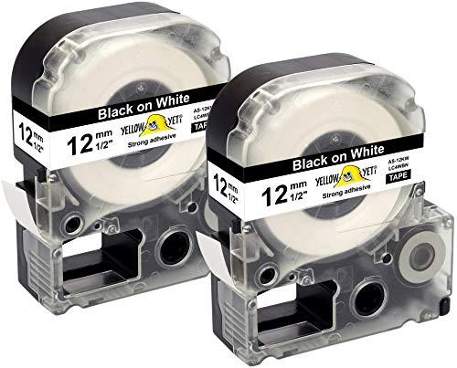 Yellow Yeti 2 Schriftbander LC-4WBN LC-4WBN9 schwarz auf weiß 12mm x 8m kompatibel für Epson LabelWorks LW-300 LW-300L LW-400 LW-500 LW-600P LW-700 LW-900P LW-1000P KingJim Tepra Pro Etikettendrucker - Epson Farbband Kassette