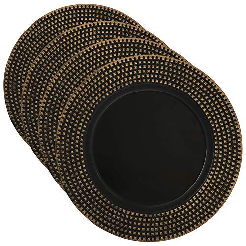 com-four® 4x Dekoteller schwarz-goldfarben aus Kunststoff - Adventskranzteller für Weihnachten - Platzteller für Hochzeiten und Familienfeste